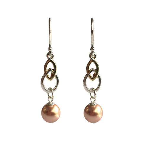 Fool's Gold Swarovski Rose Gold pearl two-tone earrings with sterling silver ear wires