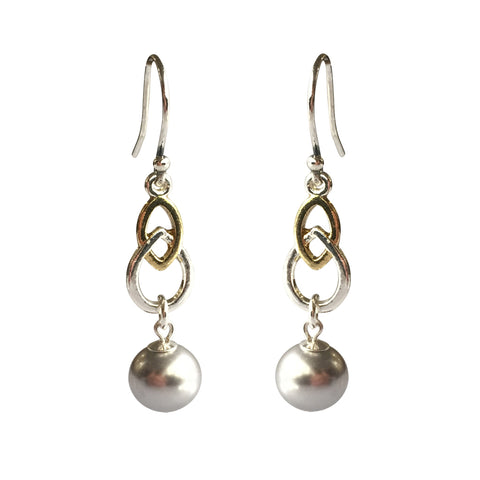 Fool's Gold Swarovski Silver pearl two-tone earrings with sterling silver ear wires