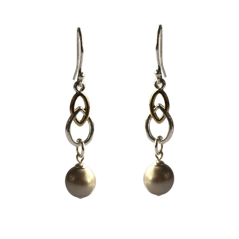 Fool's Gold Swarovski Platinum pearl two-tone earrings with sterling silver ear wires