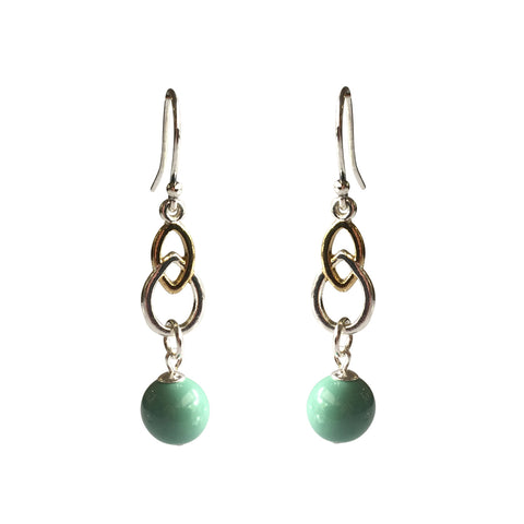 Fool's Gold Swarovski Jade pearl two-tone earrings with sterling silver ear wires