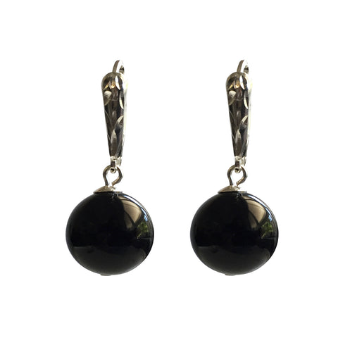 Adore Onyx earrings with sterling silver ear wires
