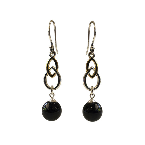Fool's Gold Onyx two-tone earrings with sterling silver ear wires