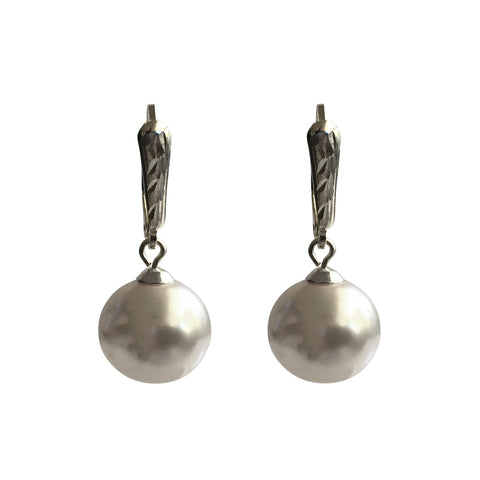 I'm a Believer Swarovski White pearl earrings with sterling silver lever-back ear wires