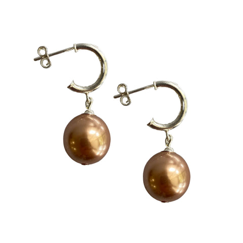 Just Can't Get Enough Swarovski Rose Gold pearl earrings with sterling silver hoop studs