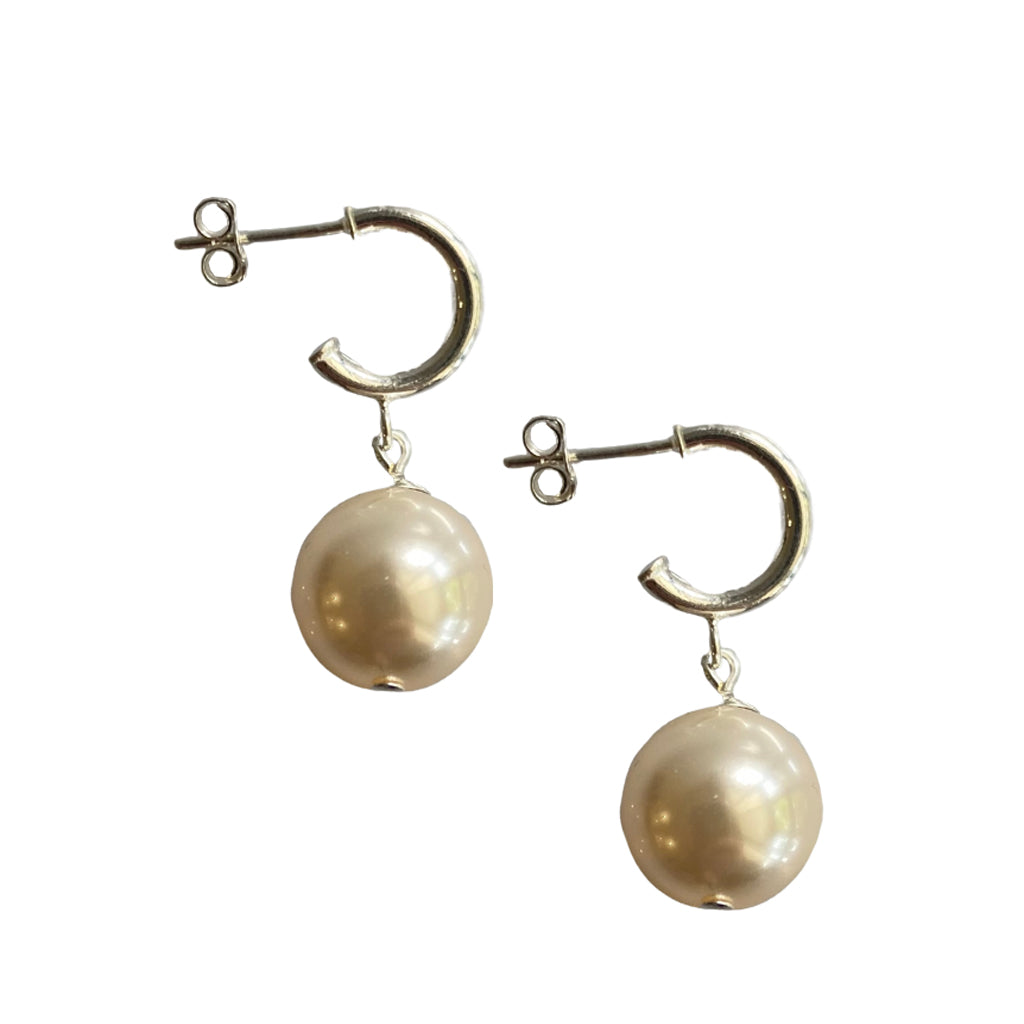 Just Can't Get Enough Swarovski Cream pearl earrings with sterling silver hoop studs