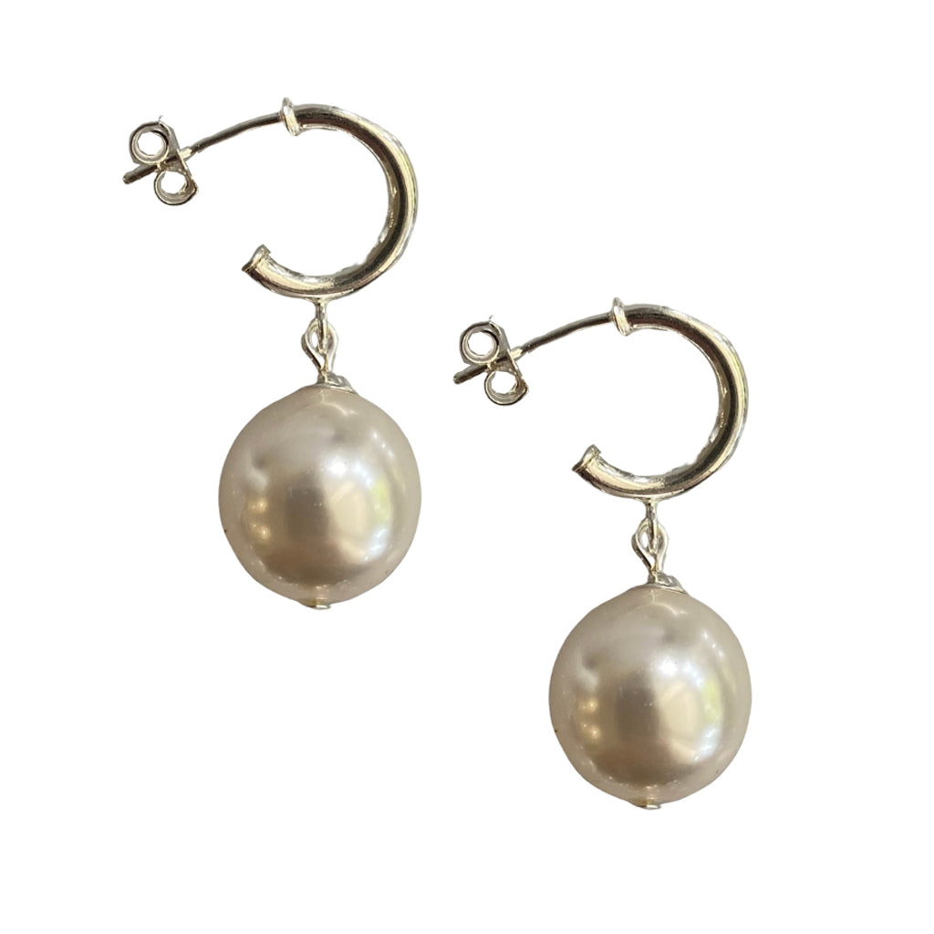 Just Can't Get Enough Swarovski White pearl earrings with sterling silver hoop studs