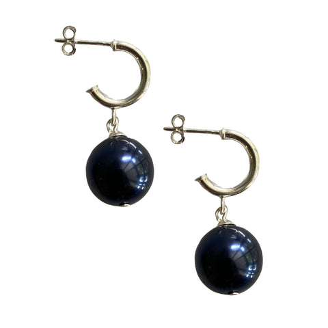 Just Can't Get Enough Swarovski Night Blue pearl earrings with sterling silver hoop studs