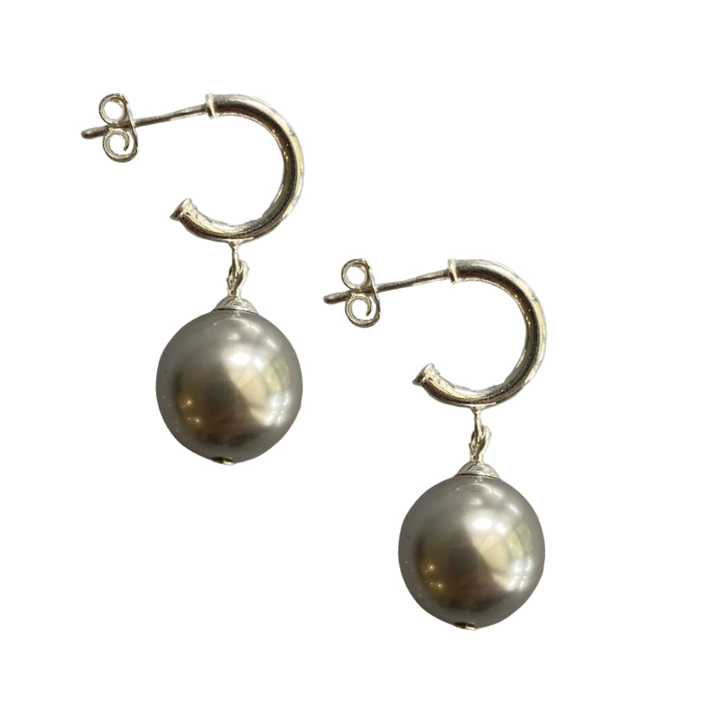Just Can't Get Enough Swarovski Silver pearl earrings with sterling silver hoop studs