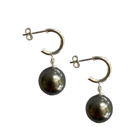 Just Can't Get Enough Swarovski Grey pearl earrings with sterling silver hoop studs