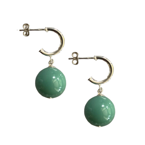 Just Can't Get Enough Swarovski Jade pearl earrings with sterling silver hoop studs