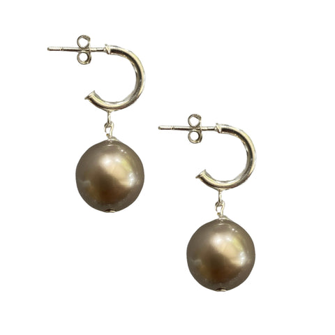 Just Can't Get Enough Swarovski Platinum pearl earrings with sterling silver hoop studs