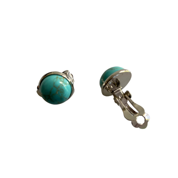 Magnesite and stainless steel clip-on earrings