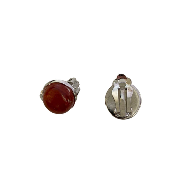 Red Jasper and stainless steel clip-on earrings