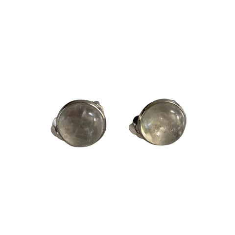 Quartz and stainless steel clip-on earrings