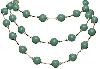 Here Comes the Rain Again necklace with Swarovski Jade pearls