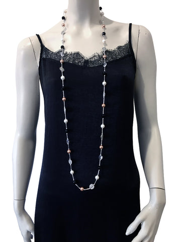 Long necklace with Onyx, freshwater pearls, Swarovski Rose Gold pearls and Swarovski crystal