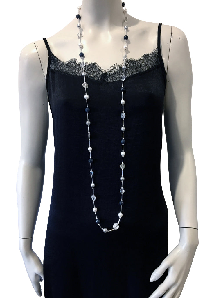 Long necklace with Dumortierite, freshwater pearls, Swarovski Silver pearls and Swarovski crystal