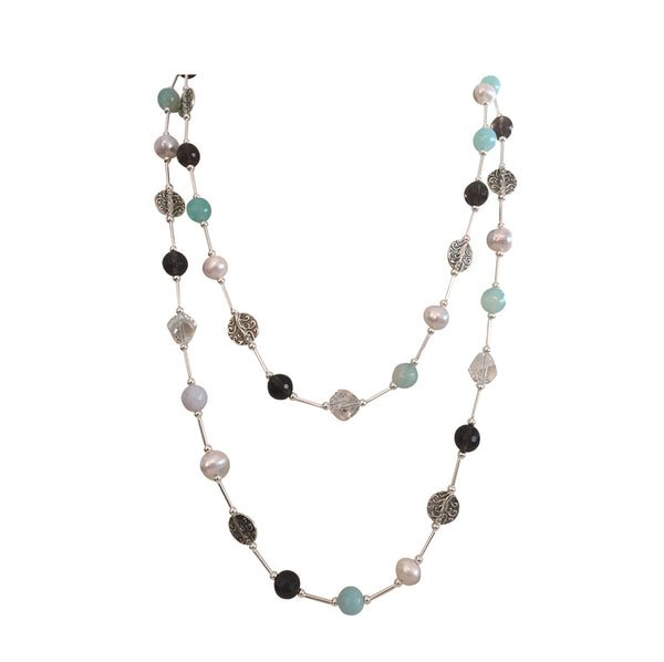 Long necklace with Amazonite, freshwater pearls, Smoky Quartz and Swarovski crystal