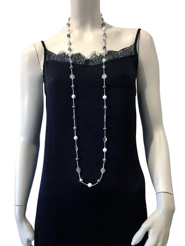 Long necklace with White Howlite, Hematite, Swarovski Grey pearls and Swarovski crystal