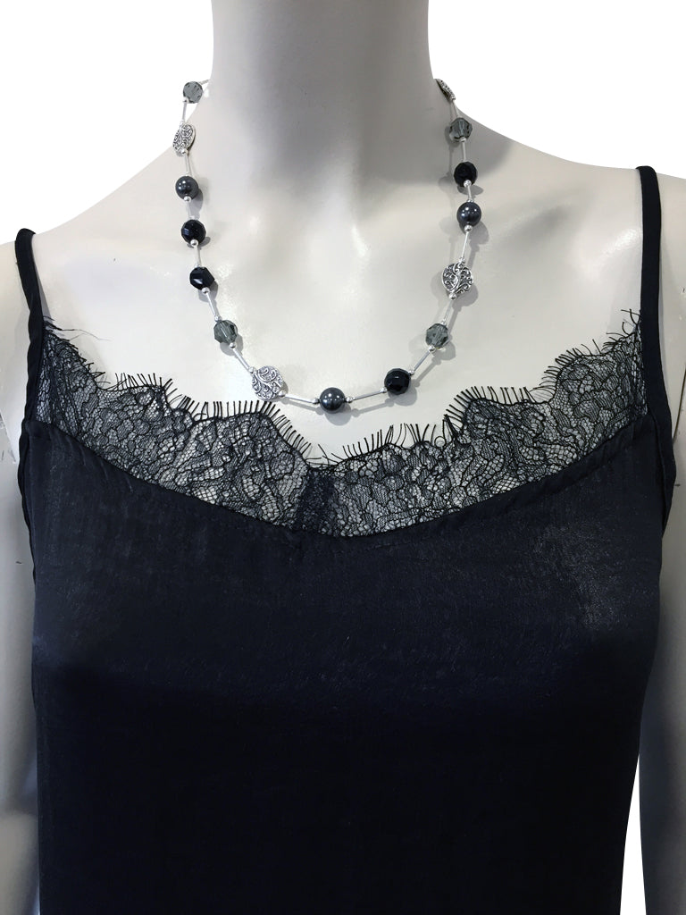 Short necklace with Onyx, Swarovski Black Diamond crystals, Swarovski Black pearls and Swarovski Jet crystal