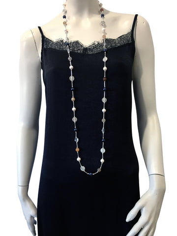 Long necklace with Agate, Freshwater Pearls, Swarovski Night Blue pearls and Swarovski crystal