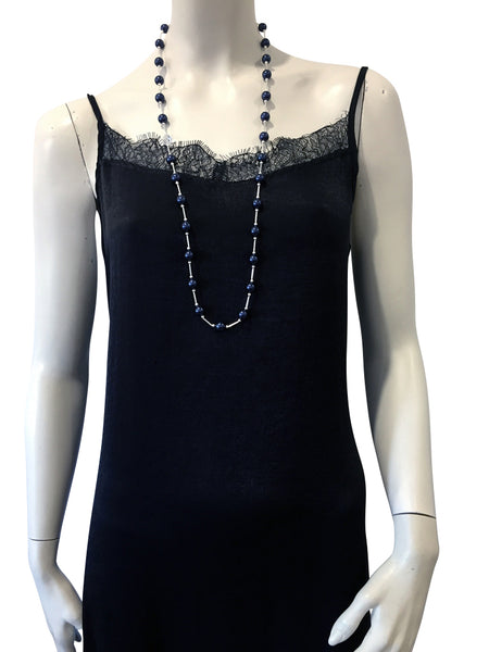 Mid length necklace with Swarovski Night Blue pearls and Swarovski crystal