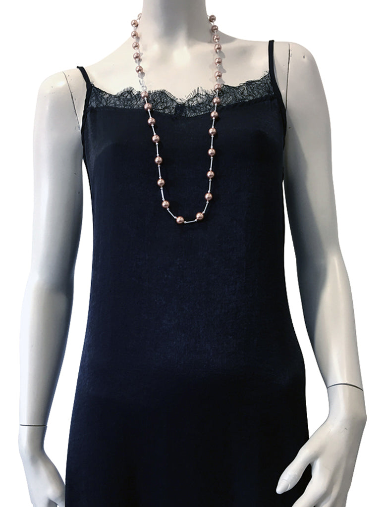 Mid length necklace with Swarovski Rose Gold pearls and Swarovski crystal