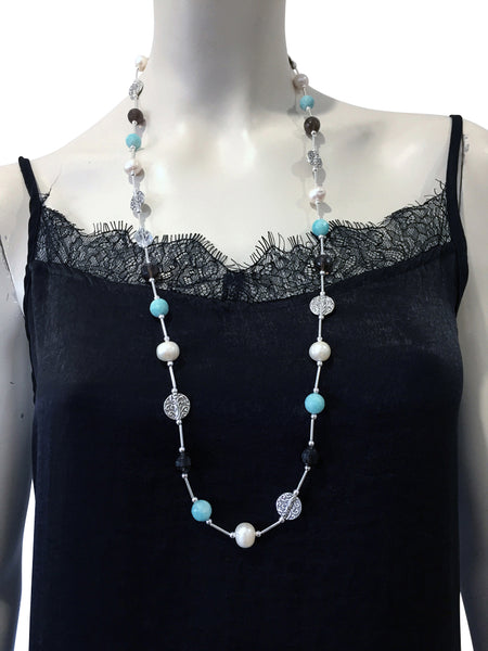 Mid length necklace with Amazonite, freshwater pearls, Smoky Quartz and Swarovski crystal