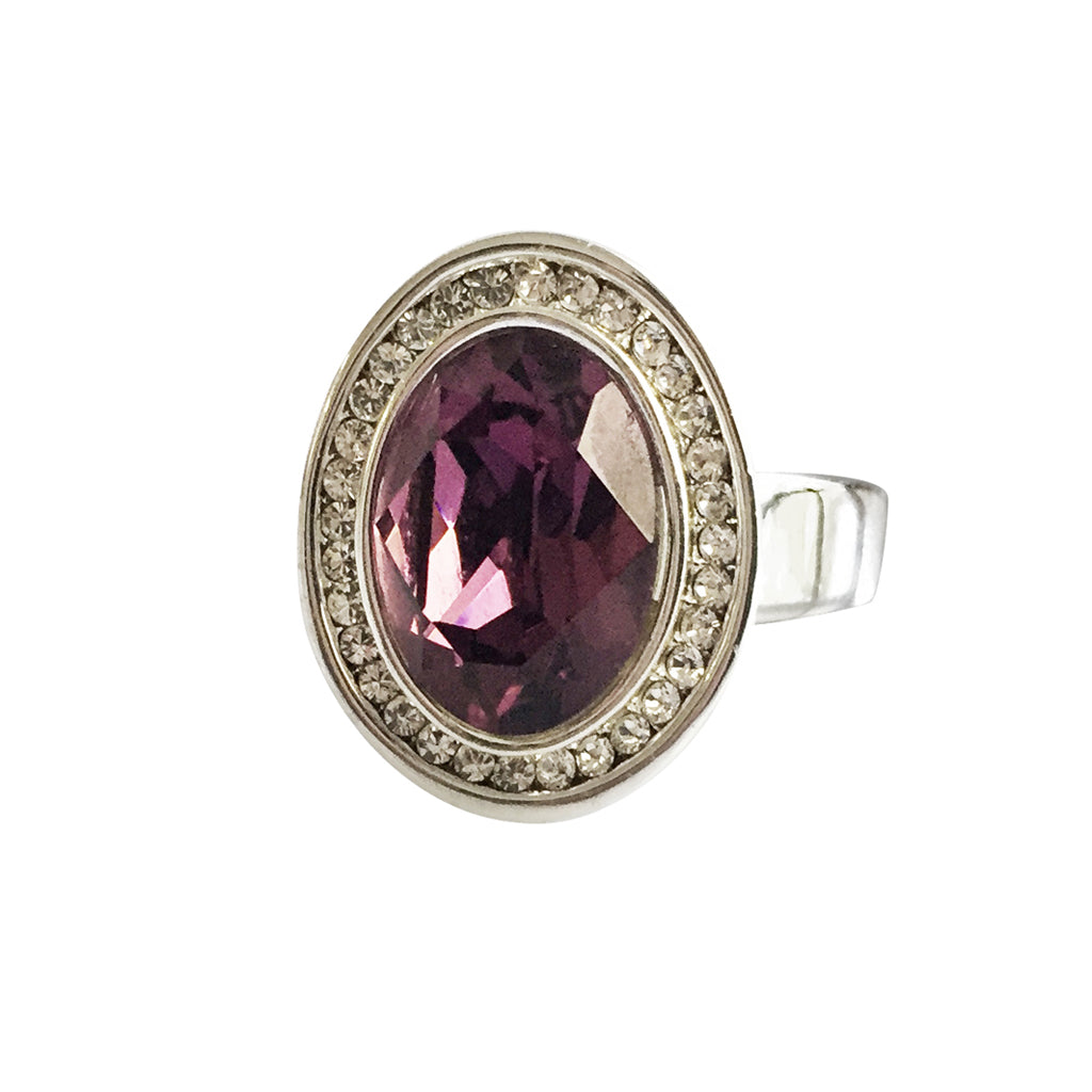 Amethyst Swarovski crystal ring size 8 rhodium plated