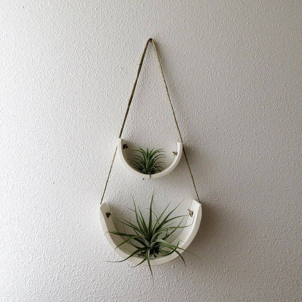Small White Earthenware Hanging Air Plant Cradle