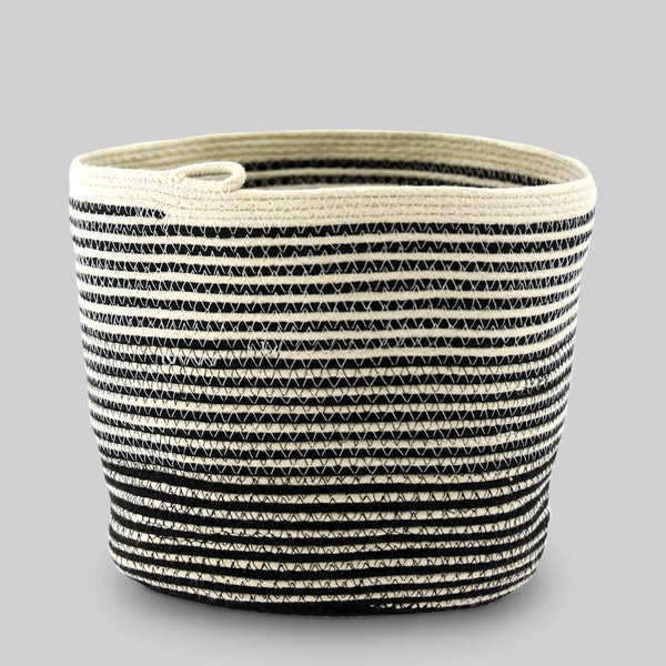 Handmade Large Black and White Stripe Bucket