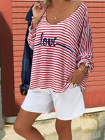 Blanc Coton Simple Rayé T-Shirt & Blouse