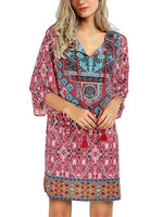 Rose De plein air Recueillies 3/4 Sleeve Col V Dresses