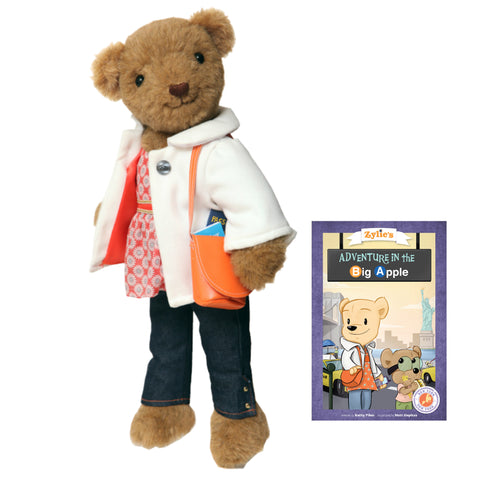 Zylie Adventure Kit Toy Dressable Teddy Bear Product Photo with outfit accessories and book