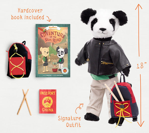 "Shen the Panda Adventure Kit Dressable 18"" Teddy Bear Toy Zylie's Friend Outfit Accessories Book"