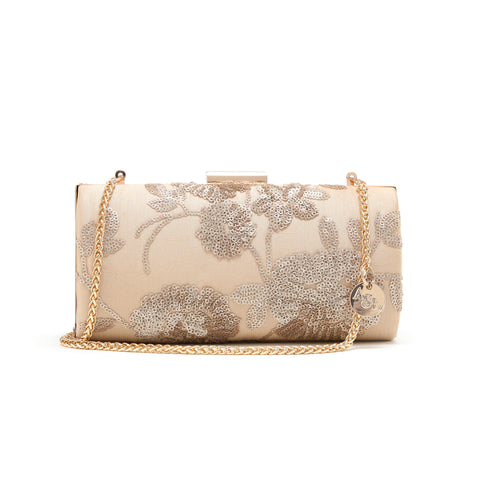 Gloden Floral Embroidered Cylinder Clutch