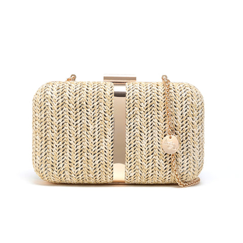Woven Straw Natural Color Minaudiere