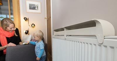 Family room with Radfan on radiator