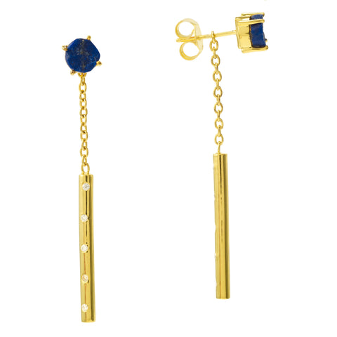 Lapis Cylinder Stud with Drop