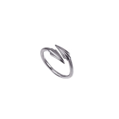 Black Silver Plain Spear Ring