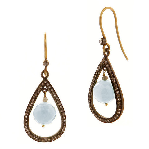 Blue Chalcedony & Diamond Drop Earrings