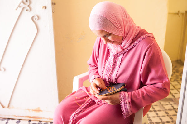 Embroiderers at work in Morocco
