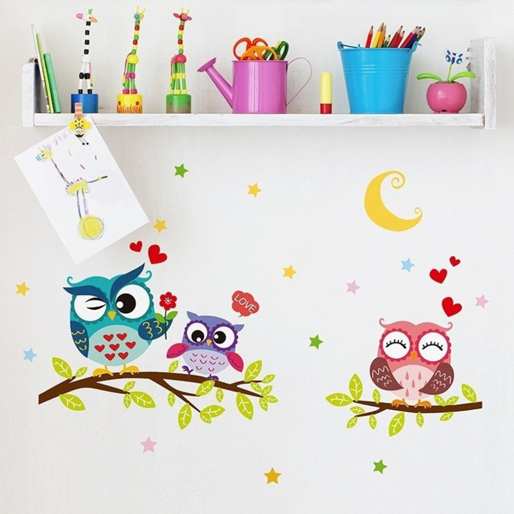 Cute-Cartoon-Owl-Wall-Decals-study-room-bedroom-1