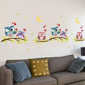 Cute-Cartoon-Owl-Wall-Decals-study-room-bedroom-3