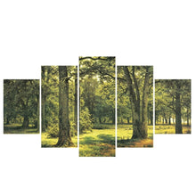 Green-or-yellow-forest-corridor-canvas-wall-pattern-1