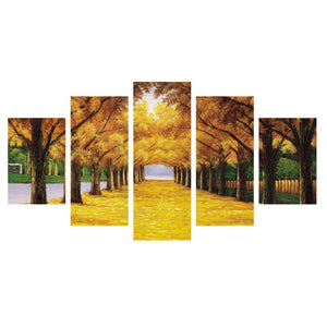 Green-or-yellow-forest-corridor-canvas-wall-pattern-4