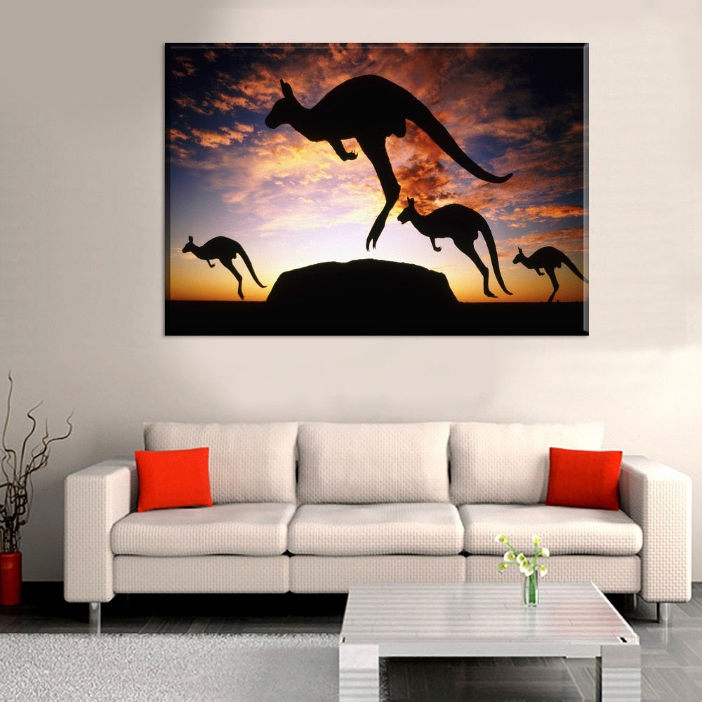 4-Kangaroos-in-Front-of-the-Sunset-Canvas-Wall-Art-1