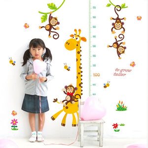 Cartoon Giraffe Height Measurement Wall Art Stickers