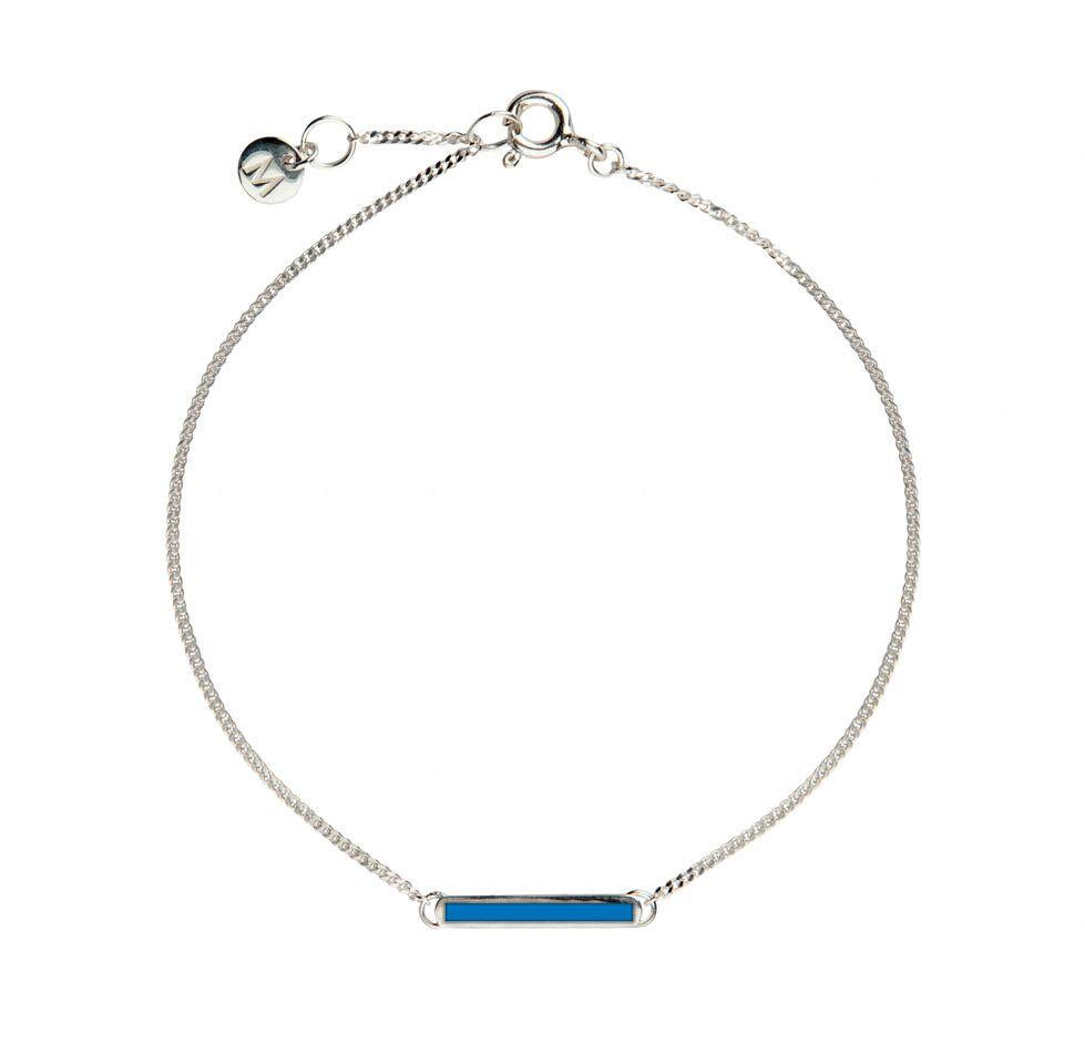 Blue Little Bar of Strength - Wrist (Sterling Silver) - melissacurry