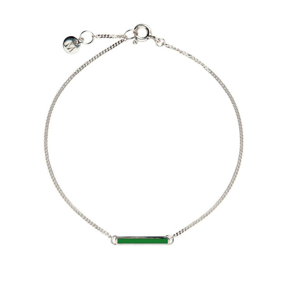 Green Little Bar of Strength - Wrist (Sterling Silver)